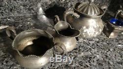 1 LOT (5) Vintage Barbour Silver Quadruple COFFEE SET ANTIQUE APOLLO SILVER CO