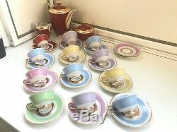 12 Cup 14 Saucer Set Rare Vintage WJS Copenhagen Porcelain Coffee Set