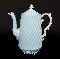 15 Piece Vtg Aynsley Coffee Pot Demitasse Tea Set Light Blue Swirl Wildflowers
