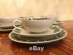 1950's Vintage 9 cups saucer Cake Plate W. J Schmidt Porcelain Handpaint Tea Set