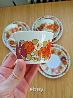 1970s Vintage Floral Coffee Set by Scherzer Bavaria Cups Saucers Plates 12 pcs