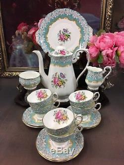 1st Vintage Royal Albert Bone China Coffee Set Enchantment Pattern