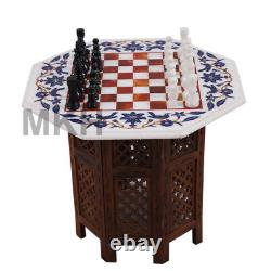 22 Marble Inlay Chess Board Set Vintage Stone Pieces Coffee Table Marquitry