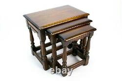 3 Nest Tables in Solid Oak Vintage 1930s Small Coffee Table Set Lamp Stand Retro
