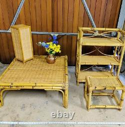 3 Piece Vintage Boho 70s Bamboo Set Side Coffee Table Book Plant Lamp Stand