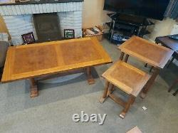 3 x Vintage Coffee Tables Wooden Nesting Side Table Set