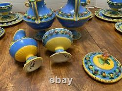 38pc Vtg Della Robbia Blue Majolica COFFEE SET 12 Italy Handmade Rustic Pottery