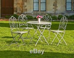5 Pcs Bistro Set Garden Metal Vintage Coffee Table 4 Chairs Folding Patio Shabby