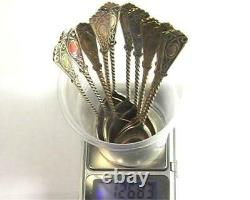 50s Set of 12 Coffee Tea Spoons Vintage USSR Gilt Sterling Silver 875 in Box
