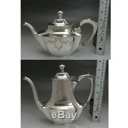5pc Vintage Wallace Silver Plate Hand Engraved Tea & Coffee Set
