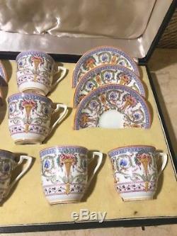 6 Cup 6 Saucer Set Rare Vintage Royal Worcester Porcelain Coffee Mocca espresso