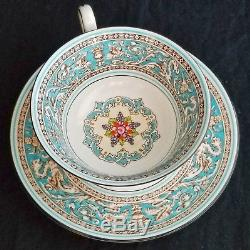 6 Vintage Wedgwood Florentine Turquoise Coffee Cup & Saucer Sets, Excellent