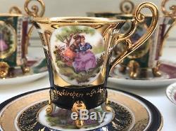 8 Cup 12 Saucer Set Rare Vintage Bavaria Porcelain Coffee Mocca Espresso