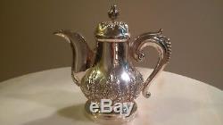 800/1000 Vintage Djorkja Silver Coffee, Tea, Sugar & Creamer set withPlatter