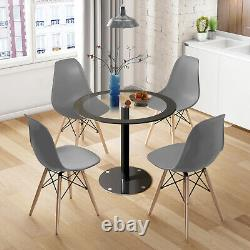 90cm Round Tempered Glass Dining Table and 2/4 Wood Chair Set Office Coffee Home