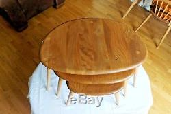 A set of vintage retro mid century Ercol Pebble Coffee Tables