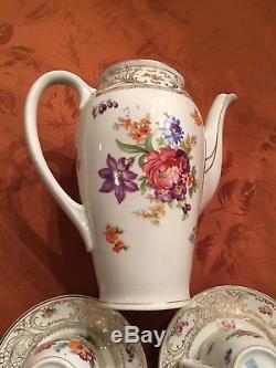 Antique DRESDEN SCHUMANN BAVARIA COFFEE POT SET WithSugar C&Ss FLOWERS VINTAGE