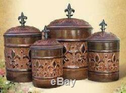 Antique Fleur De Lis Vintage Canister Set For Kitchen Flour Sugar Coffee Tea Jar