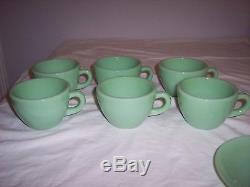 Antique/Vintage Fire King Jadeite Heavy Duty Restaurant Ware Coffee Cups Set Lot