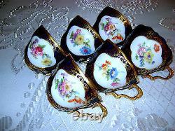Antique Vtg German Bavaria Lindner Kueps HP Porcelain Cobalt Blue Tea Coffee Set