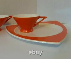 Antique/Vtg MCM Atomic Space Age Coffee/Tea Serving Set, Retro Orange, 1930s-50s