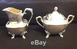 Antique Vtg Rogers Daffodil Silverplate Coffee / Tea Set with Tray