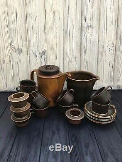 Arabia Ruska coffee set, finland vintage ceramic, antique set arabia ruska