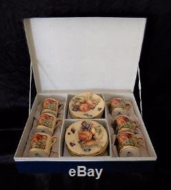 Aynsley -Boxed set of 6 Orchard Gold vintage coffee cups & saucers by M. Aynsley