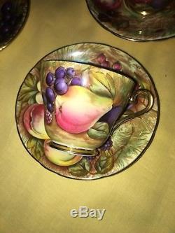 Aynsley Vintage Orchard Gold Gilded Tea/Coffee set signed N Brunt & D Jones