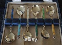 Boxed Set 6 Vintage Hestenes Norway Enamel Sterling Silver Coffee Spoons #16