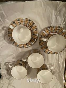 Burberry London Vintage Special Edition Tea/Coffee Cups Set NWT Made In England