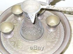 COFFEE & CAKE SERVICE SET VINTAGE HANDMADE BRASS PALESTINE BEDUIN 1950's