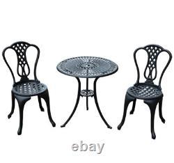 Cast Aluminium Garden Furniture Set 2 Seat Vintage Coffee Table Chairs Patio