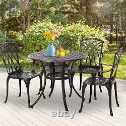 Cast Aluminium Garden Furniture Set 4 Seat Vintage Coffee Table Chairs Patio