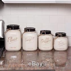 Ceramic Kitchen Canister Set of 4 Mason Jar Rustic Vintage Flour Sugar Coffee