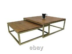 Coffee Table Alana Set of 2 Nesting Solid Acacia Wood Brass Iron Legs-WNT05BS