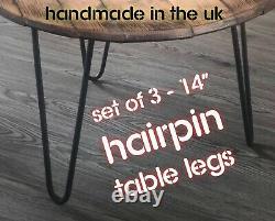 Coffee Table Hairpin Legs / Set Of 3 / Circular /FREE Screws + Floor Protectors