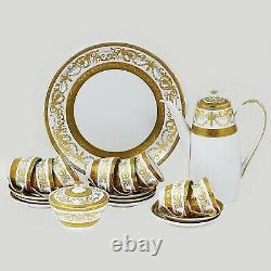 Coffee set for 8 Vintage Bohemian gold encrusted Premium porcelain De Luxe