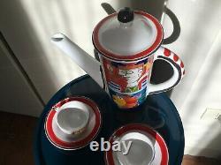 DE SIMONE original Vintage Sicilian Ceramic Tea Pot/ Coffee Set Made In Italy