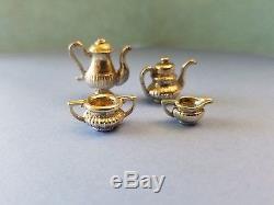 Dollhouse Miniature Sterling Silver 4PCS Set Queen Ann Style Tea Coffee Sugar