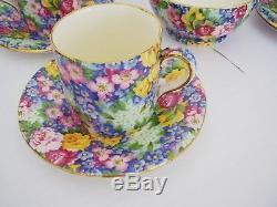 EXCELLENT VINTAGE ROYAL WINTON JULIA 9 PIECE COMPLETE FLORAL 1950s COFFEE SET