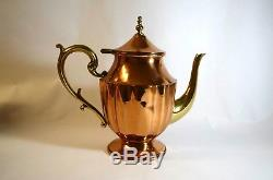 Euc Rare Vintage Copper 5 Piece Tea/coffee Service Set With Brass Handles