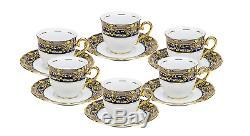Euro Porcelain Premium 17-pc Dark Cobalt Blue Tea Cup Coffee Set, 24K Vintage 6