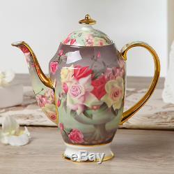 Europe Vintage Rose Bone China Coffee Set British Porcelain Tea Set Ceramic Pot