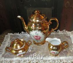 Exciting Vintage Coffeeset Coffeepot sugarbowl milkcan handpainted Roses Bavar