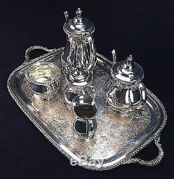 Friedman Silverplate 6 Piece Coffee/Tea Set Service Hollowware 3292 Vintage