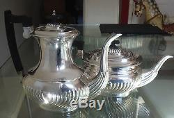 Gleaming Four Piece Vintage/antique Silver Plated Reeded Coffee/ Tea Set