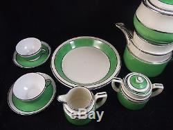 HUGE Vintage Fraunfelter 387 GREEN Tea/Coffee Set MID CENTURY Art Deco COMPLETE