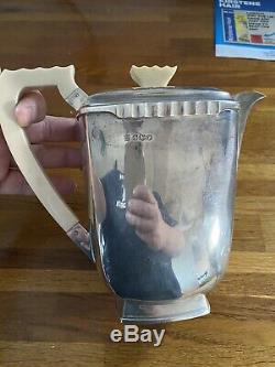 Heavy Sterling Silver 4 Piece Tea & Coffee Set Art Deco Vintage Sheffield 1941