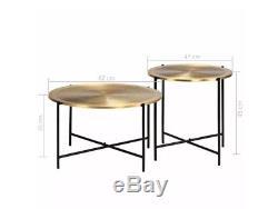Industrial Coffee Table Vintage Round Furniture Set 2 Side End Gold Rustic Metal